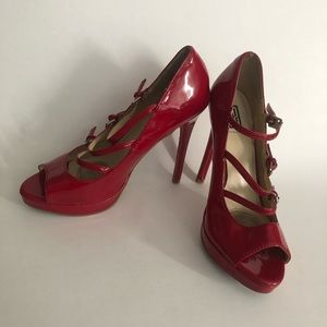 SS Signature Red Open Toe High Heels Shoes